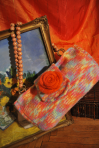 Geanta tricotata – trandafir portocaliu