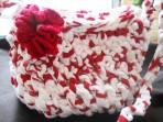 Geanta crosetata din benzi tricot